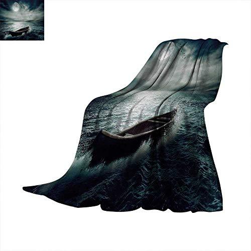 Anhuthree Fishing Super Soft Lightweight Blanket Boat Drifting in Ocean Full Moon Dramatic Night Sky Life Hope Concept Art Summer Quilt Comforter 62