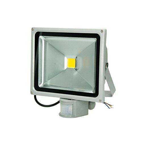 ECD Germany 1x Reflector LED SMD 30W 240V 1518 Lumens IP65 a prueba de agua Blanco cálido 2800K Iluminación exterior con Sensor de Movimiento: Amazon.es: ...
