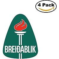 fan products of Breidablik Iceland Soccer Football Club FC 4 Stickers Car Bumper Window Sticker Decal 4X4