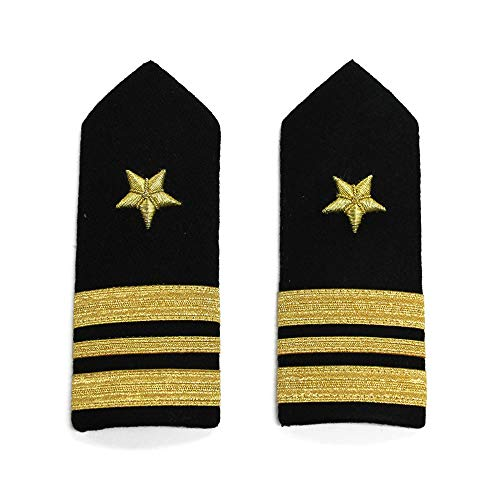 (Pair of US Navy Lieutenant Commander Shoulder Boards, Black and Gold)