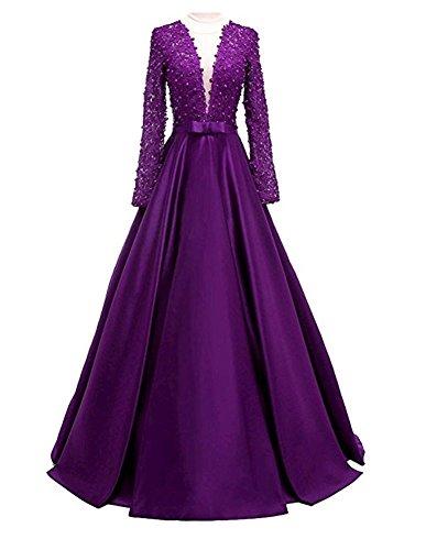 Abendkleider Damen mit Cocktail Ärmel Purple Brautjungfernkleider Bainjinbai Ausschnitt Lange Ballkleider V Lang FIxUnwqwdg