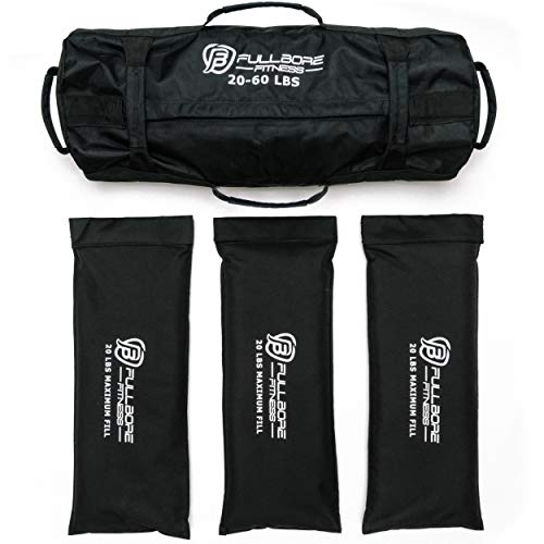 Fullbore Fitness Adjustable Weight Sandbags for Fitness, Workout, Exercise, and Weight Training. Great Sandbag Weights for Home Gym and Cross-Training 20-60 lbs