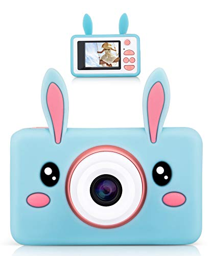 lilexo Kids Digital Camera, Perfect for Girls Gifts Age 3-8, Children Shockproof Mini Video Camcorder, Toy Camera & Animal Silicone Cover for Extra Protection, 16GB Memory Card Included (Blue Rabbit)