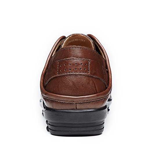 Upper Leather Lace Heel Breathable Casual Walking Driving QZYYU DarkBrown Up Penny Comfy Fresh Loafers Womens Moccasins Snug Flat A6608 Antiskidding Abby zFwUTqx
