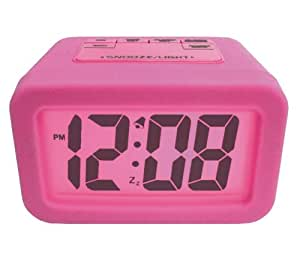 Advance Time Technology Silicone LCD Alarm Clock with Matching Backlight, Pink