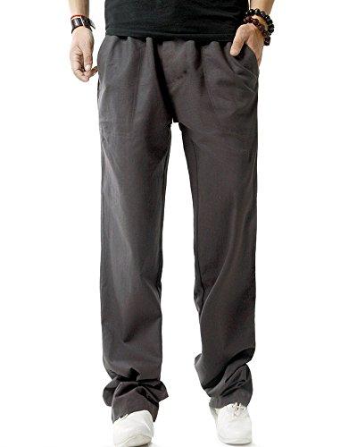 Sarouel Léger Large Taille Décontractée En Gris Lin Profond Pantalon Homme Élastique nwX7x1qTYT