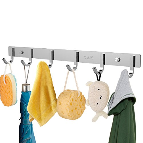 OUNONA Wall Coat Rack Coat Hooks Wall Mounted Stainless Steel Coat Rack with 6 Hooks,Hook Rack for Clothes or Keys,17.32 inches
