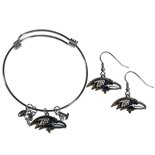 Siskiyou NFL Baltimore Ravens Dangle Earrings & Charm Bangle Bracelet Set ()