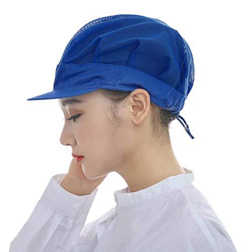 Jiyaru Men Women Chef Hat Adjustable Cooking Catering Cap Breathable Mesh Blue ()
