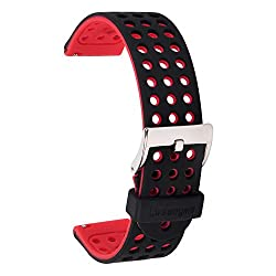 Lwsengme 22mm Silicone Quick Release Smartwatch Bands For Moto 360 2 46mm Samsung Gear 2,gear 2 Neo,gear 2 Live,gear S3 Lg G Watch W100,r W110(blackred)