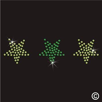 Calcomanía termoadhesiva para camisetas con diamantes de imitación, diseño de 3 estrellas