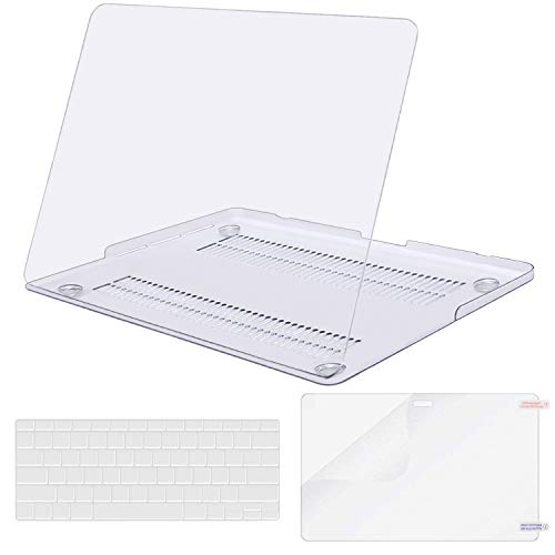 MOSISO Case Only Compatible with Older Version MacBook Pro Retina 13 inch (Models: A1502 & A1425) (Release 2015 - end 2012), Plastic Hard Shell & Keyboard Cover & Screen Protector, Crystal Clear (Apple Macbook A1502)
