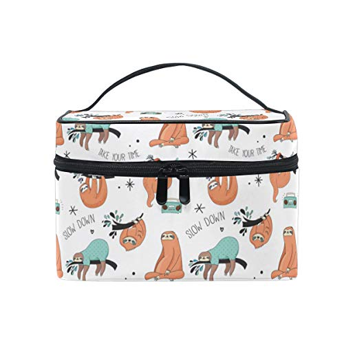 ZOEO Makeup Train Case Sloth Pajama Party Time Tree White Korean Carrying Portable Zip Travel Cosmetic Brush Bag Organizer Large for Girls Women (Best Liquid Lipstick India)