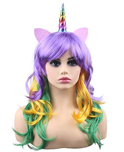 kaste Women Princess Rainbow Unicorn Wig Long Curly Hair Wigs Halloween Party Cosplay (QY-6974)