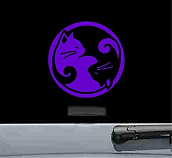 Amazon.com: Yin Yang gatos calcomanía de vinilo (morado ...