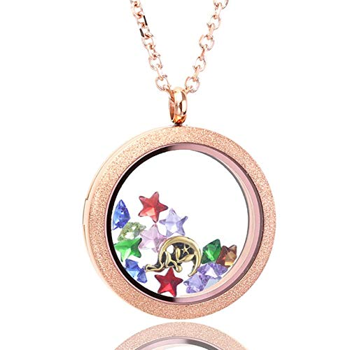 Zysta Rose Gold Round Locket Pendant Necklace 30mm Matte Stainless Steel Clear Glass Living Memory Floating Charms Stone Storage
