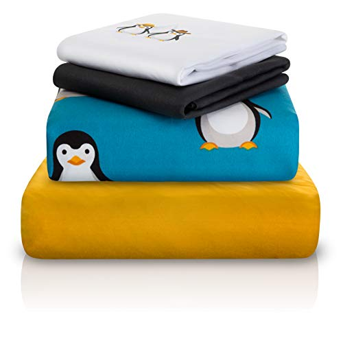 Chital 4Pc Twin Linen Sheet Set - Cute Penguin Print - Flat & Fitted Sheets with 2 Pillowcases for Kids Boy Girl & Teens - Supper Soft Microfiber - Fits Bed Size: 39 x 75 x 15 inches Deep