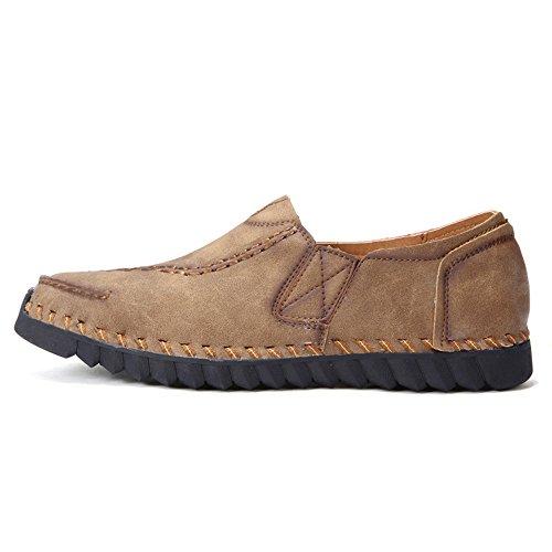 CUSTOME Zapatos Cuero Plano Ponerse Zapatos de Conducción Suave Lace Up Respirable Ocio Ligero Cómodo Casual Zapatos Caqui