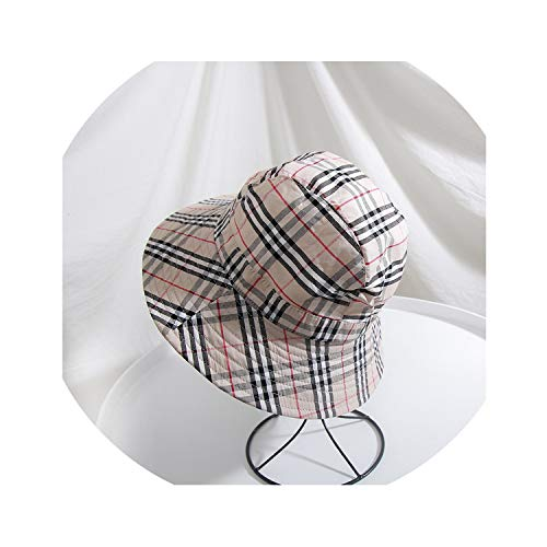 bb-5 2019 Cotton 4 Style Solid Plaid Bucket Hat Fisherman Hat Outdoor Travel hat,Beige ()