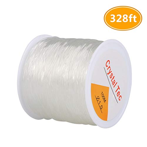 Kissbuty 1 Roll 1.0mm Elastic Stretch Crystal Nylon Thread Fishing Line Wire for Craft Bracelet Beads, 100m