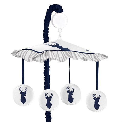 Sweet Jojo Designs Navy White and Gray Woodland - Bed Canopy Wall Mount