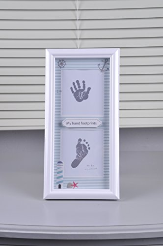 BabyIn PRECIOUS BABY HANDPRINT and Footprint Frame Kit - Baby Prints Photo Keepsake with Wood Frame With Safe Acrylic Glass Non-Toxic Ink Pad,Great Baby Gift For Baby Registry (Type B)