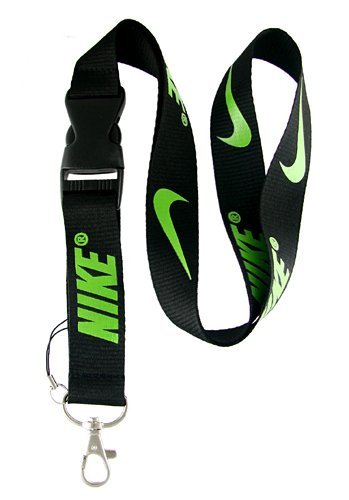 Nike Black with Green Lanyard Keychain Holder with Snap Buckle