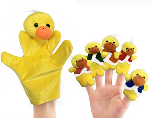 RIY 6Pcs Story Time Finger Puppets - Five Little Ducks Educational Puppets