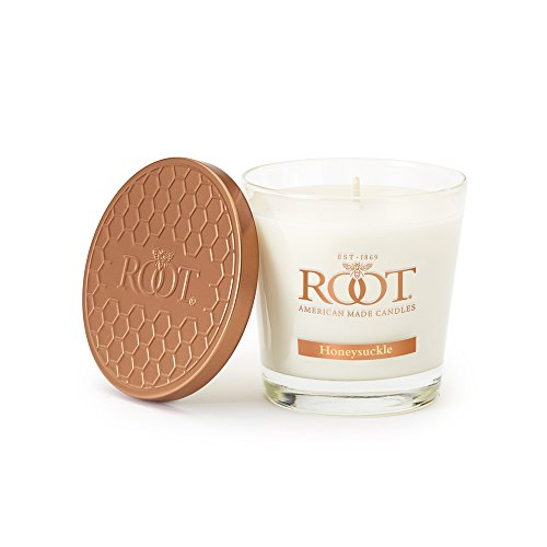Root Candles Honeycomb Veriglass Scented Beeswax Blend Candle, Small, Honeysuckle