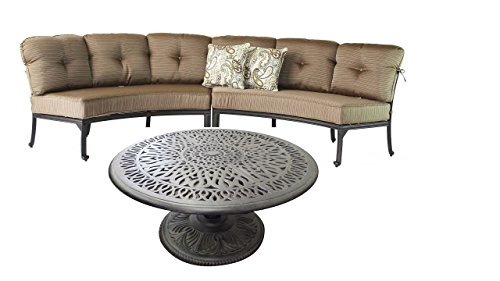 Cast Aluminum Curved Outdoor Sofa Elisabeth 3 Piece Patio Set Desert -