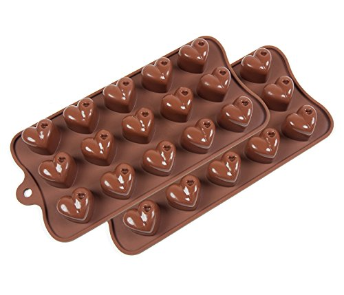 Heart Shaped Bar (Set of 2 Pcs Premium Silicone Non-stick Heart Shaped Molds for Chocolate Candy Jello Cookies Mini Protein Bars Mini Energy Bars 1 Year)