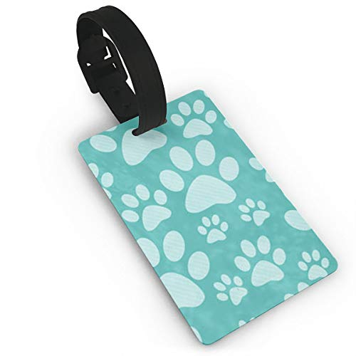 Ruin Dog Paw Prints Luggage Tags With Print For Suitcases, Flexible PVC Travel ID Identification For Bags & Baggage