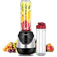 Comfee 250W Personal Blender with 2 x 20 Oz BPA Free Tritan Sport Bottle and 2 BPA Free Travel Lid. Mini Portable Smoothie maker for smoothies, Shakes, Baby Food, Healthy Drinks (Black & Red)