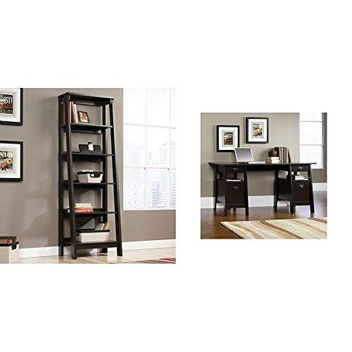 Executive 5 Shelf - Sauder 5 Shelf Bookcase, Jamocha Wood + Sauder Executive Trestle Desk, Jamocha Wood Finish_Bundle