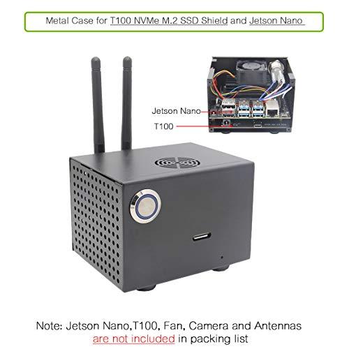 Geekworm NVIDIA Jetson Nano T100 Metal Case for NVIDIA Jetson Nano Developer Kit and T100 NVMe M.2 SSD Shield
