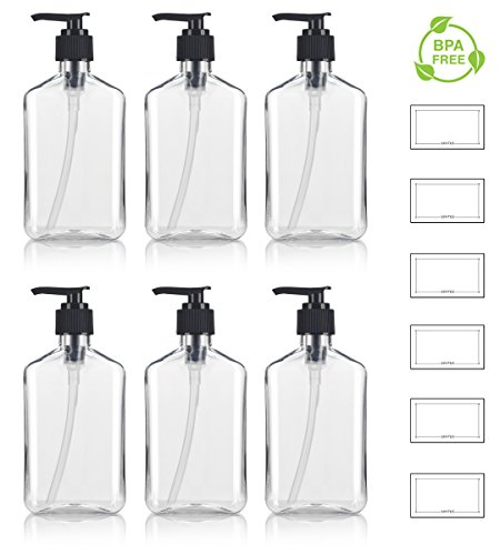 Style Bottle Lotion - 8 oz / 250 ml Clear PET (BPA Free) Plastic Oblong Flask Style Refillable Bottle with Black Lotion Pump (6 pack) + Labels