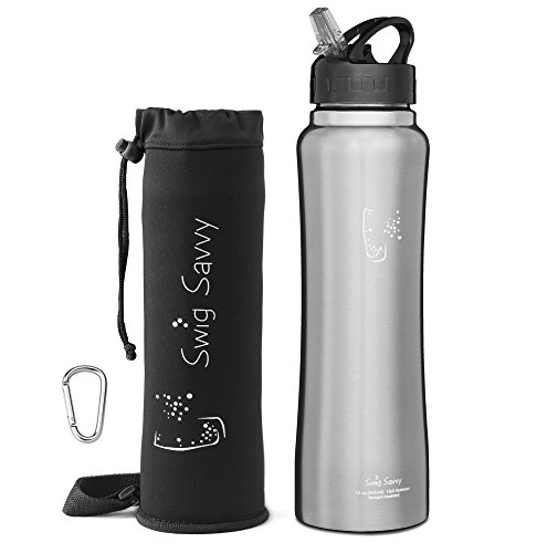SWIG SAVVY Stainless Steel Insulated Leak Proof Flip Top Straw Cap Water Bottles with Pouch & Clip, Steel, 32oz