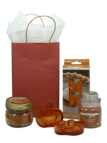 Pumpkin Pie Spice Scented Candles Gift Set: Tea, Mason Jar a