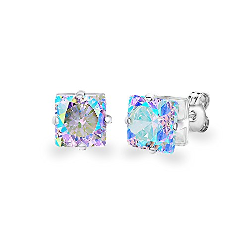 Diane Lo'ren 18KT White Gold Plated 8mm Gemstone Crystal Princess Cut Cubic Zirconia Studs Cartilage Earrings Set For Women (Aurora Borealis)