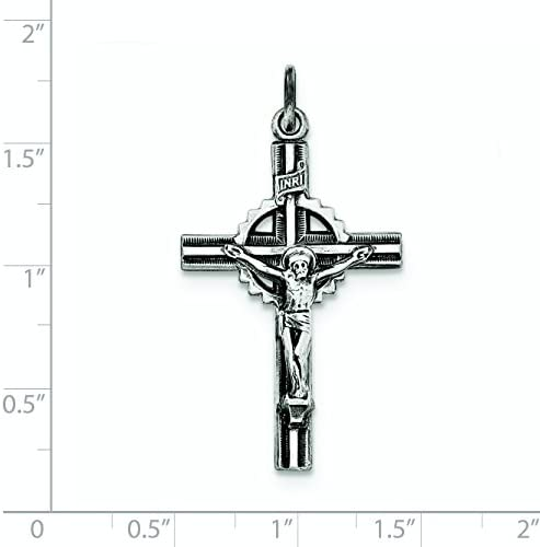 Sterling Silver Antiqued Textured and Polished INRI Crucifix Pendant