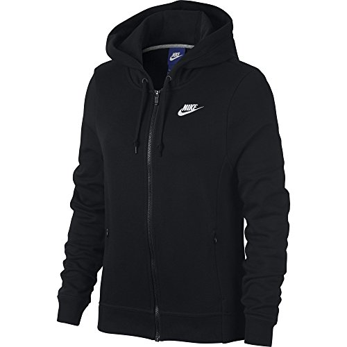 (NIKE Sportswear Women's Full Zip Hoodie, Black/Black/Black/White, Large)