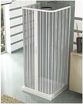 Mampara, cabina de ducha, tamaño: 80 x 90 x 80 cm, h 185 cm, de PVC, Central de apertura, 2 203, Color blanco: Amazon.es: Bricolaje y herramientas