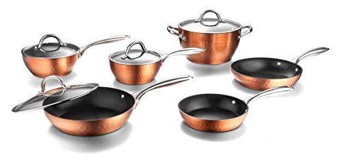 Cooksmark Diamond Nonstick Induction Scratch-Resistant Cookware Set, Pots and Pans Set Dishwasher Safe with Glass Lids, 10-Piece, Bronze