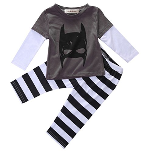 [StylesILove Baby Boy Long Sleeved Batman Shirt and Striped Pants (6-12 Months)] (Batman Outfit Baby)