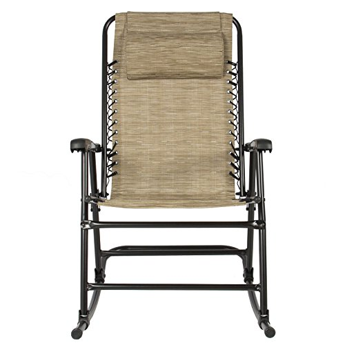 Outdoor Patio Rocking Chair Foldable Rocker Furniture Beige You Can Chill Anywhere With This Fancy Rocking Chair