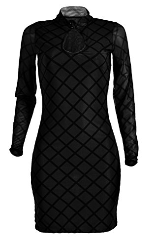 Black Bodycon Through Long Sexy Allonly Party See Dress Women's Club Sleeve Cocktail A7Yw7Pxq