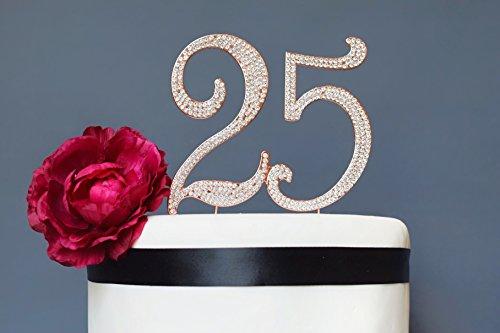 25 ROSE GOLD Cake Topper | Premium Bling Crystal Rhinestone Diamond Gems | 25th Birthday or Anniversary Party Decoration Ideas | Quality Metal Alloy | Perfect Keepsake (25 Rose) -