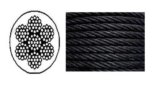 """Black Powder Coated Galvanized Cable Wire Rope 3/16"""" 7x19-50, 100, 250, 500, 1000 ft (50 ft)"""