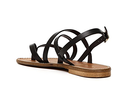 Cafè Noir KGE136 Crossbow Crossed Sandal in Vacchetta 010 NERO