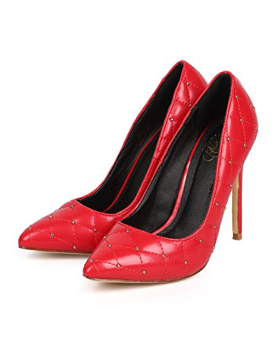 Miss L Women Quilted Leatherette Pointy Toe Studded Stiletto Pump DA70 - Red (Size: 9.0) by Miss L (Image #4)
